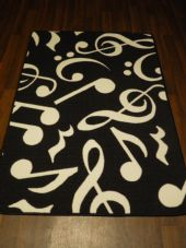 5x3ft Music Note Mats Great Quality Non Slip Black-White 100x150cm HOME/SCHOOLS